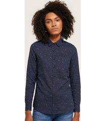 blusa estampada, con bolsillo , manga larga azul oscuro m