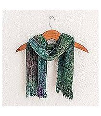 rayon chenille scarf, 'enchanted forest' (guatemala)