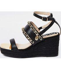 river island womens black chain detail wedge sandals