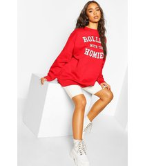 oversized 'rolling met the homies' sweater met tekst, red