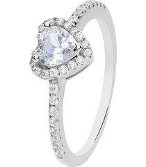 anello cuore in argento rodiato e zirconi per donna