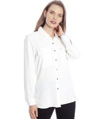 blusa manga larga liso blanco lorenzo di pontti