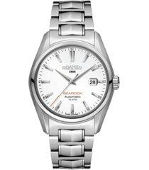 roamer men's 3 hands date 42 mm dress watch in stainless steel case and bracelet