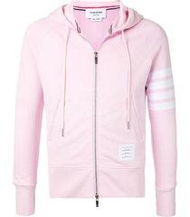 thom browne 4-bar light pink loop back full zip hoodie
