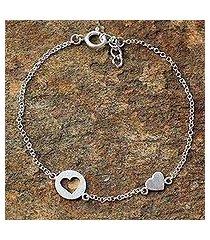 sterling silver station bracelet, 'puzzling hearts' (thailand)