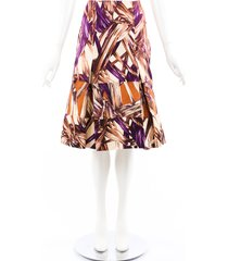 carolina herrera multicolor printed tiered pleated skirt beige/multicolor sz: xs