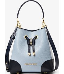 mk borsa a tracolla mercer gallery extra small in pelle martellata color block - navy/bianco/blu pallido (blu) - michael kors