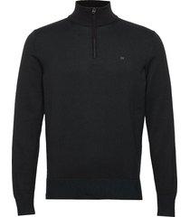 cotton silk 1/4 zip sweater knitwear turtlenecks svart calvin klein