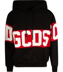 gcds mid logo print hoodie