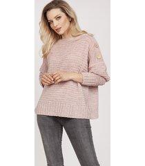 sweter z guzikami - swe218 pastelowy róż mkm