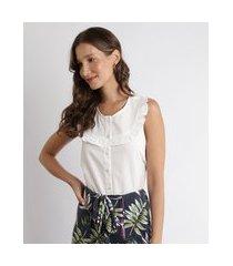camisa feminina com babados sem manga decote redondo off white