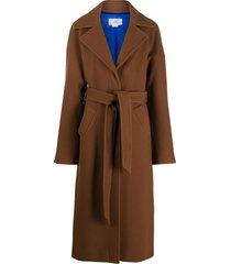victoria victoria beckham belted mid-length coat - brown