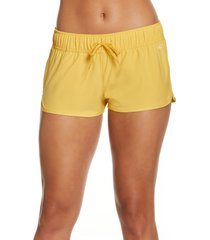 women's o'neill laney stretch tie waist board shorts, size large - yellow