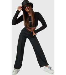 pantalón missguided nylon straight leg trousers  negro - calce holgado