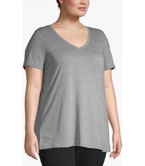 lane bryant women's essential v-neck tee 14/16 heather gray