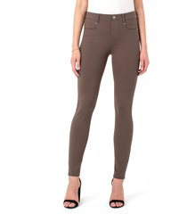 women's liverpool gia glider knit pull-on pants, size 8 - beige