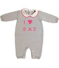 """wool jumpsuit with collar and """"i love dad"""" embroidery"""