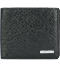 boss hugo boss textured portfolio wallet - black