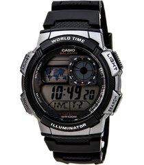 reloj casio ae-1000w-1b para caballero plateado/ negro