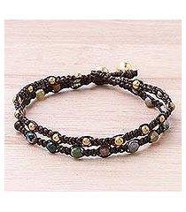 brass braided bracelet, 'green boho chic' (thailand)