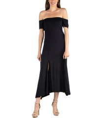 24seven comfort apparel off shoulder soft flare midi dress with side slit
