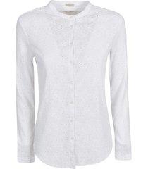 massimo alba round collar perforated shirt