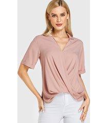 rosa frente cruzado diseño v cuello blusa de manga corta