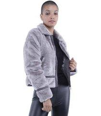 casaco pelo zíper frontal pop me feminino