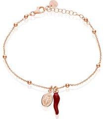 bracciale in argento rosato con pallina, charm cornetto e madonna per donna