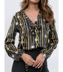 camicetta a maniche lunghe da donna con stampa bohemien