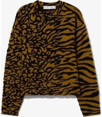 proenza schouler white label animal jacquard knit pullover fatigue/black s