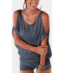 grey scoop cuello atado con hombros descubiertos en la camiseta trasera