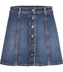 womens denim skirt embroidered kort kjol blå self cinema