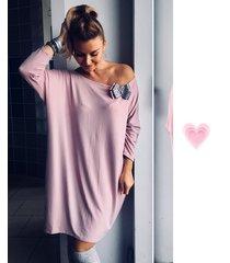 tunika/ sukienka lato różowa z szarym pasem
