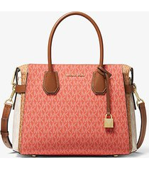 mk borsa a mano mercer media color block con logo - pnkgrpft mlt - michael kors