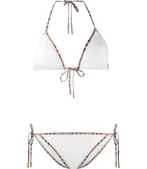 burberry vintage check detail triangle bikini - white