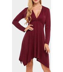 borgoña escote en v mangas largas envoltura con dobladillo irregular vestido