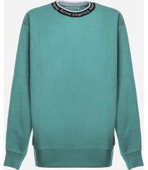 acne studios cotton blend jacquard logo sweatshirt
