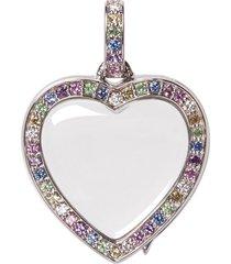 diamond sapphire 14k white gold pastel heart locket