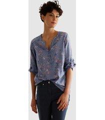 blouse dress in rookblauw