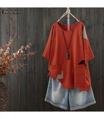 zanzea las mujeres de manga corta con cuello redondo de tapas de la camisa floja de la blusa ocasional dobladillo irregular de la blusa -rojo