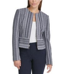 dkny petite printed zippered jacket