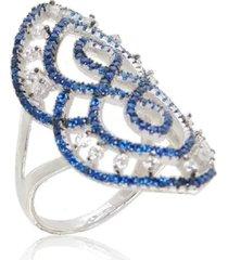 anel arabesco cravejado safira - kanui