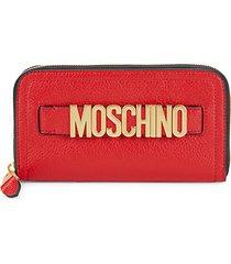 logo pebbled leather zip-around long wallet