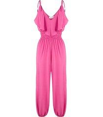 brigitte ruffled silk jumpsuit - pink