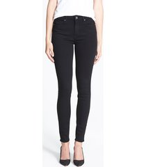 women's paige transcend - hoxton high waist ultra skinny stretch jeans, size 29 - black