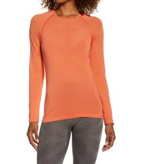 women's odlo women's kinship light long sleeve base layer t-shirt, size x-large - orange