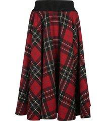 red valentino check pattern flared skirt