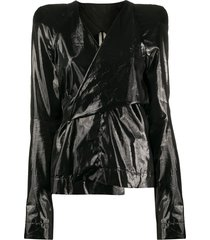 rick owens coated wrap blouse - black