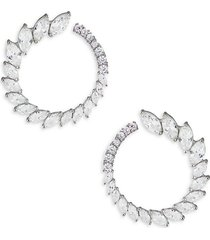 cz by kenneth jay lane women's look of real marquise rhodium-plated & crystal hoop earrings